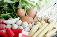 Stock Photo of vegetables boiled eggs, meatballs can be sukiyaki.