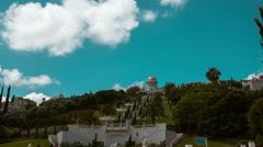 Clouds running over Bahai Temple, Haifa, Israel Stock Footage