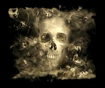 skull with smoke demons - stock illustration
