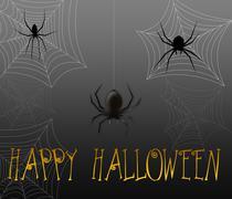 halloween spiders - stock illustration