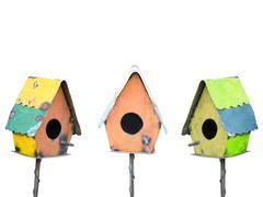 Bird houses isolated on white Stock Photos