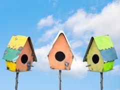 Stock Photo of bird houses under a blue sky