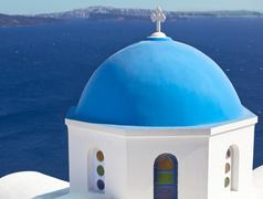 Traditional blue cupola in oia, santorini Stock Photos