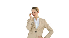 Businesswoman yawning and then being passed a coffee Stock Footage