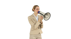 Bossy businesswoman shouting through megaphone Stock Footage