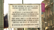 Stock Video Footage of 152 Berlin, Checkpoint Charlie, sign at border