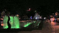 Turkey Antalya park fountain at night Stock Footage