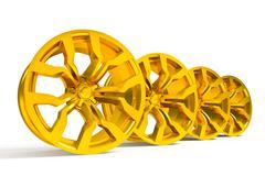 Car gold alloy wheel isolated over white Stock Illustration