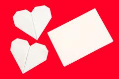 hearth shaped origami postcard - stock photo