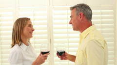Romantic mature couple drinking red wine - stock footage