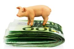 Bank on euro banknotes money Stock Photos
