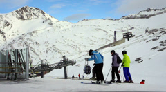 People in ski resort, Hintertux glacier,Tirol, Austria  HD Stock Footage