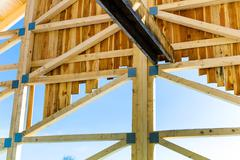 Wooden roof construction Stock Photos