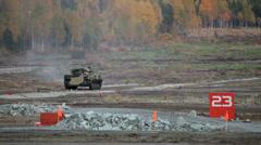 Self-propelled amphibious gun Stock Footage