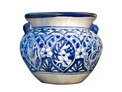 Stock Photo of mexican talavera blue pot