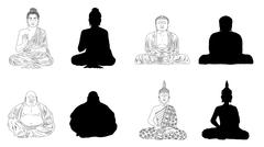 Stock Illustration of Buddha Black Vector Illustration Outline & Silhouettes