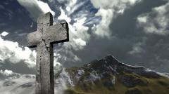 cross on a hill - stock illustration