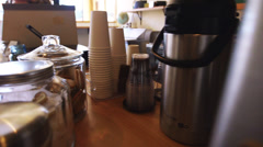 Coffee is served - dolly shot Stock Footage