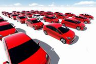 Stock Illustration of hundreds of red cars, one white