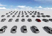 Stock Illustration of hundreds of cars, one red