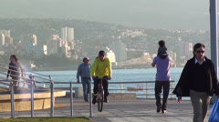 0589  People walking at the beach in Vina del Mar Stock Footage