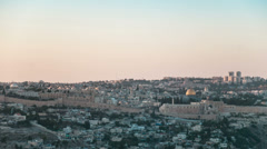 Sunset over Jerusalem old city, time lapse, from day to Night Stock Footage