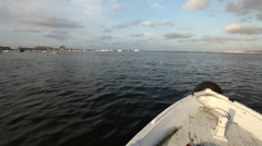 Camera boat in Alexandria, Egypt - stock footage