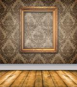 Stock Illustration of empty brown damask room with bare floors