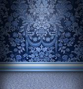 Stock Illustration of blue damask room