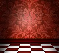 Stock Illustration of red damask room