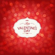 red valentines day card with bokeh - stock illustration
