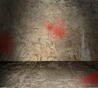 empty concrete room with blood spatter - stock illustration