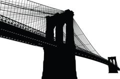 New York Brooklyn Bridge Black Silhouette Vector Illustration - stock illustration
