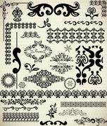 Stock Illustration of Big set of design elements, vintage borders and frames, Easy to use