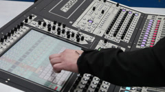 Professional sound engineer and digital audio mixer in recording studio Stock Footage