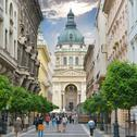Stock Photo of zrinyi utca street and st. stephen`s basilica