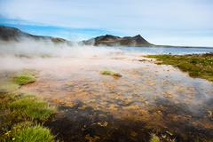 Stock Photo of hot springs next the sea, iceland.