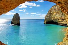 rock formations on the algarve coast, portugal - stock photo