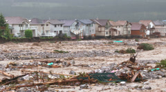 River flood water carnage wide shot h 08 - stock footage