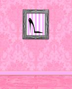 Stock Illustration of boudoir wall of pink damask