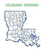 Stock Illustration of louisiana with parishes