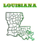 Stock Illustration of louisiana with parish borders