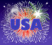 Stock Illustration of usa fireworks