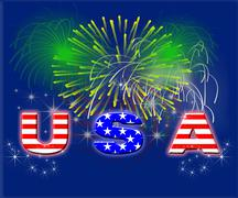 Stock Illustration of patriotic fireworks usa