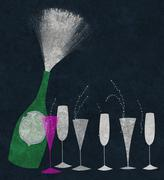 Stock Illustration of champagne uncorked