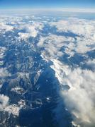 Stock Photo of aerial view of pyrenees mountains, between spain and france, covered with sno