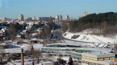 City traffic at day winter time Stock Footage