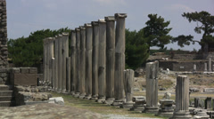 Turkey Asklepion row of columns Stock Footage