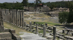 Turkey Asklepion ruins arena, columns from amphitheater Stock Footage