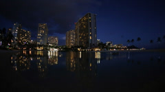 Waikiki Beach Night Stock Footage